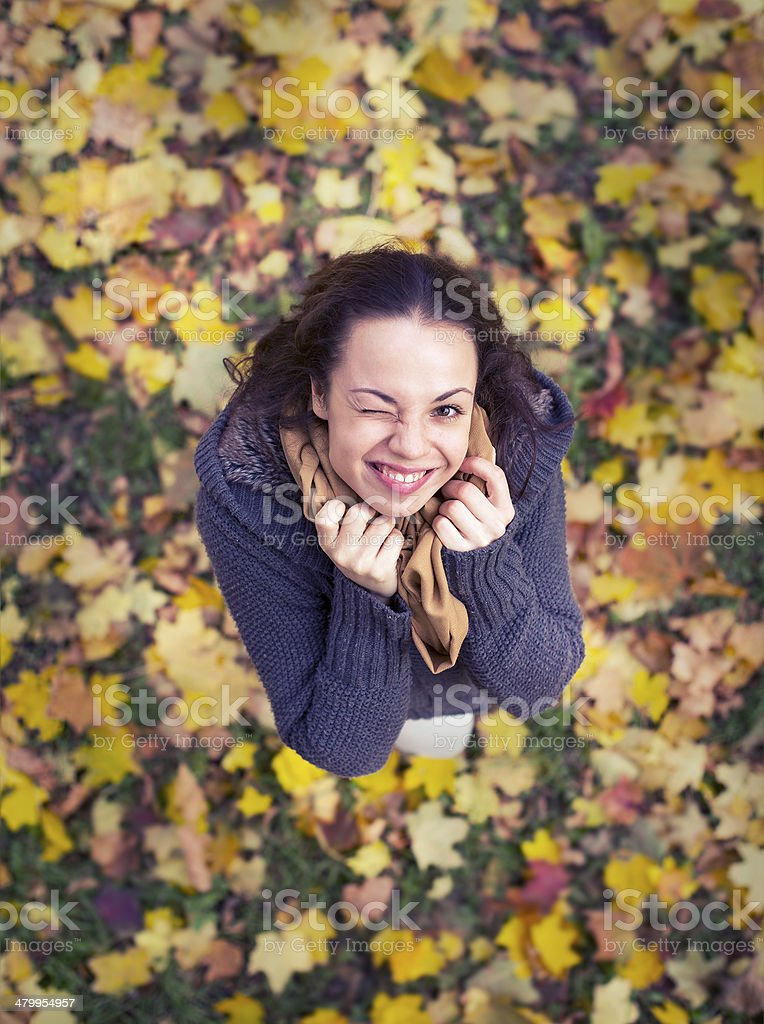 Woman and leaves royalty-free stock photo