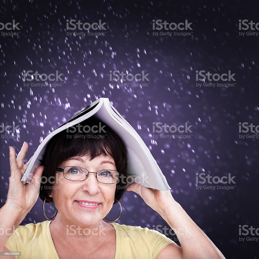 Woman and magazine royalty-free stock photo
