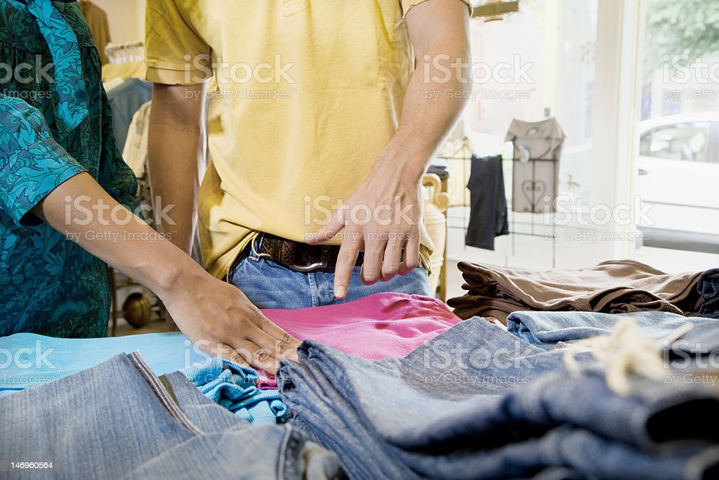 Woman and Man in Clothing Store royalty-free stock photo