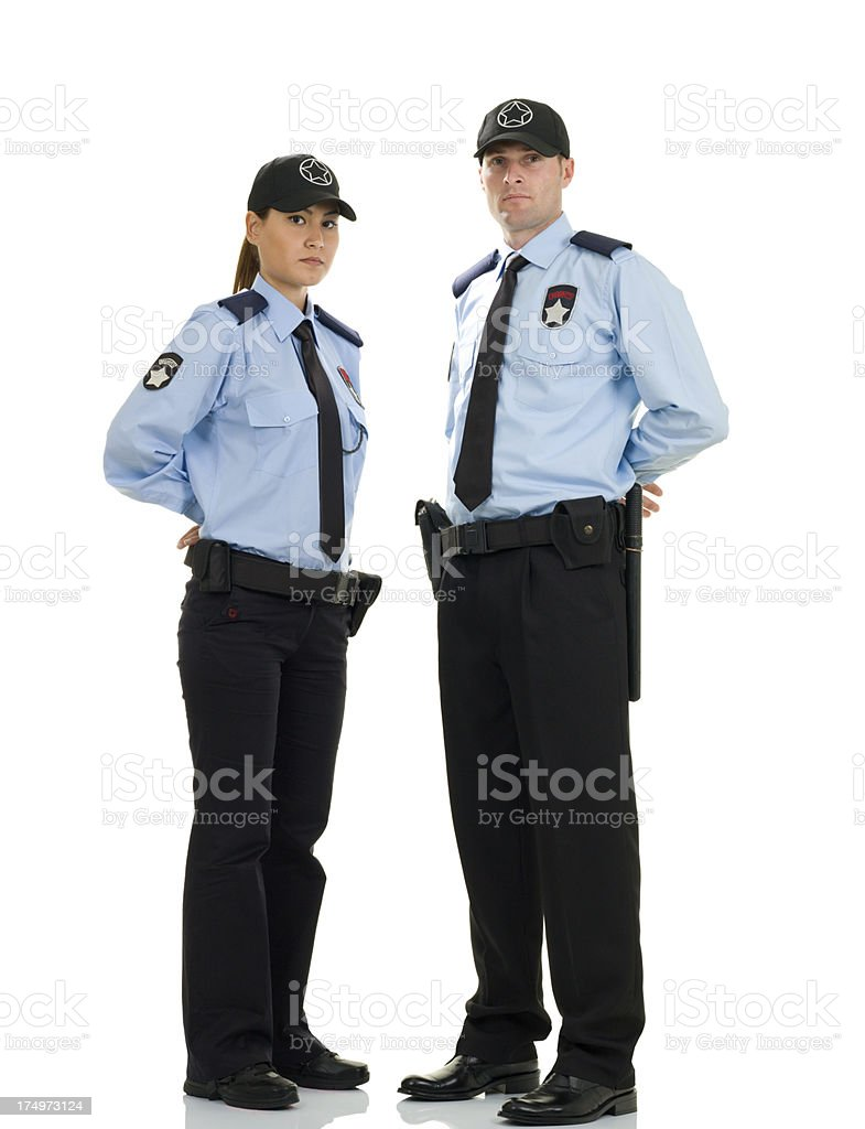 Woman and Man Security Guard royalty-free stock photo