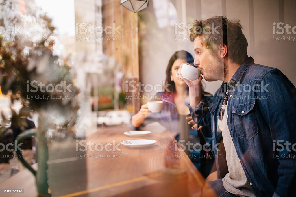 Woman and Man sitting coffee shop in Case stock photo