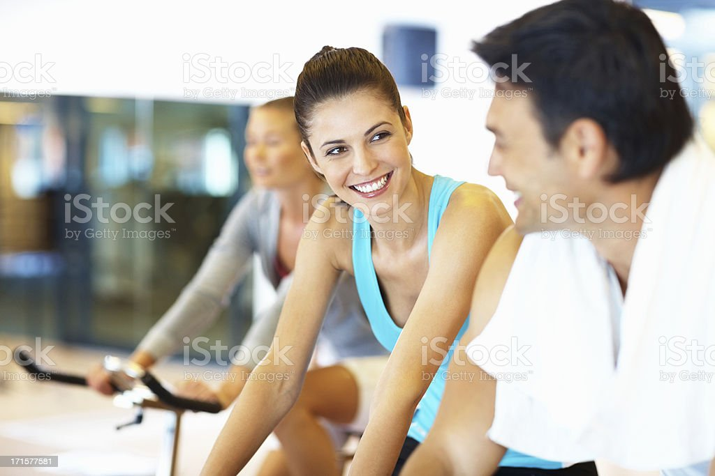 Woman and man talking during work out royalty-free stock photo