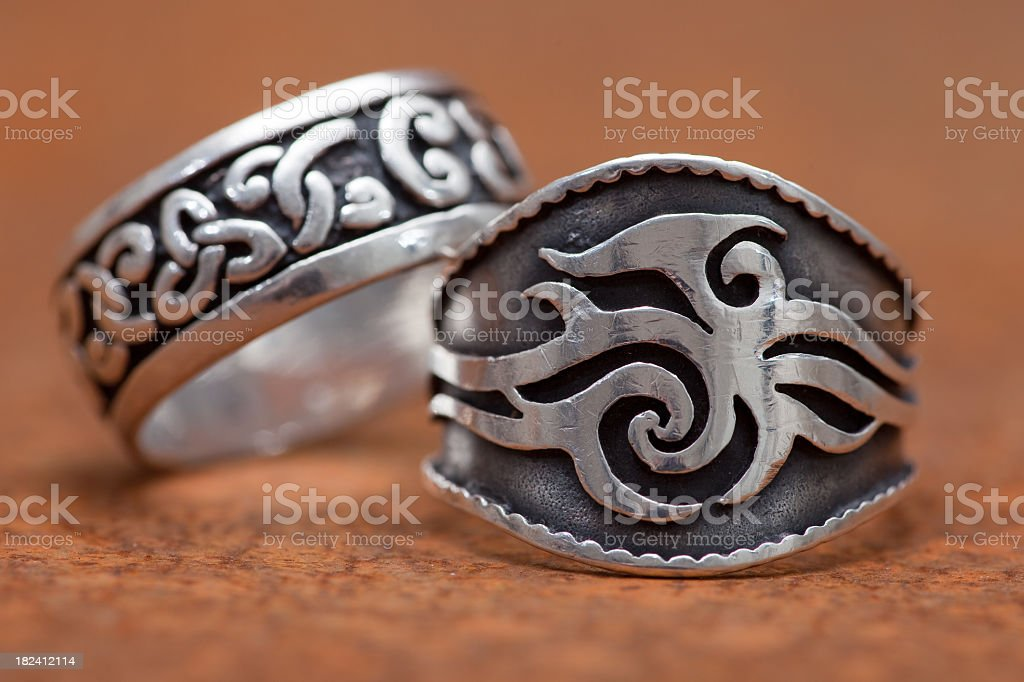 Woman and Man traditional  silver Rings stock photo