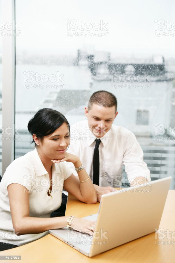 Woman and man working royalty-free stock photo