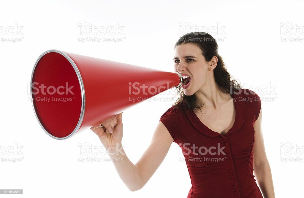 Woman and Megaphone royalty-free stock photo