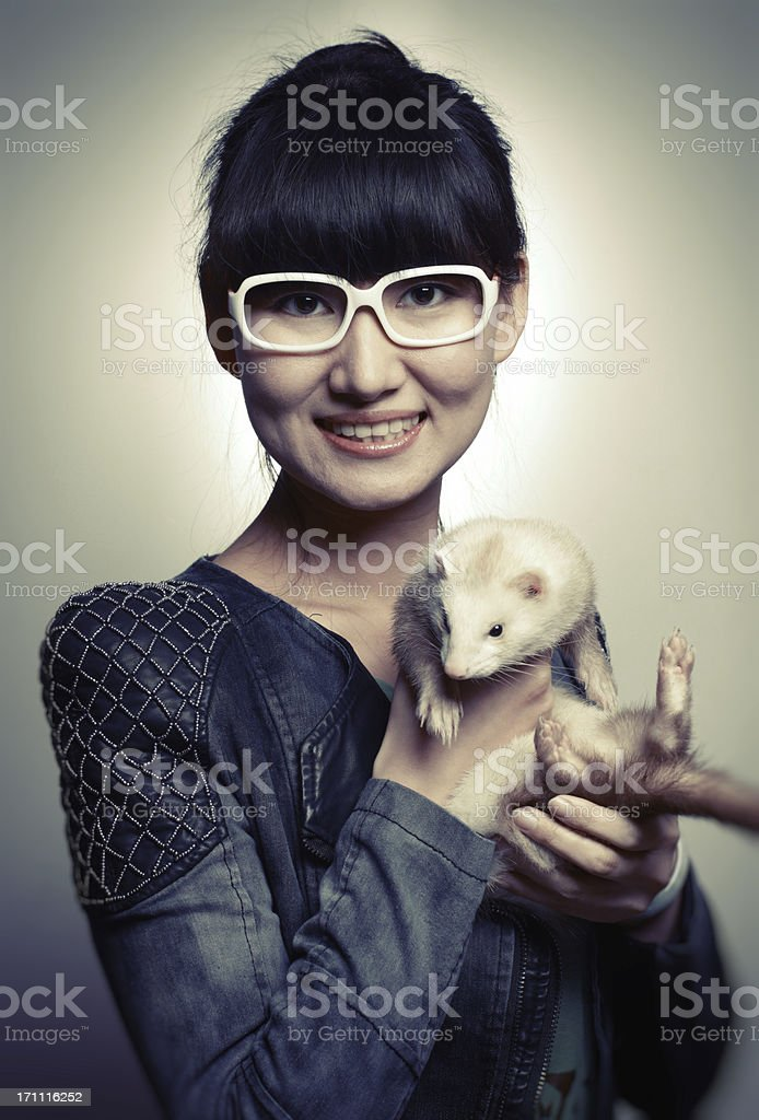 Woman and Mink royalty-free stock photo