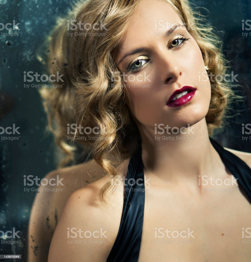 Woman and mirror royalty-free stock photo