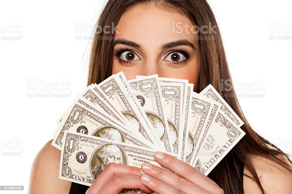 woman and money stock photo