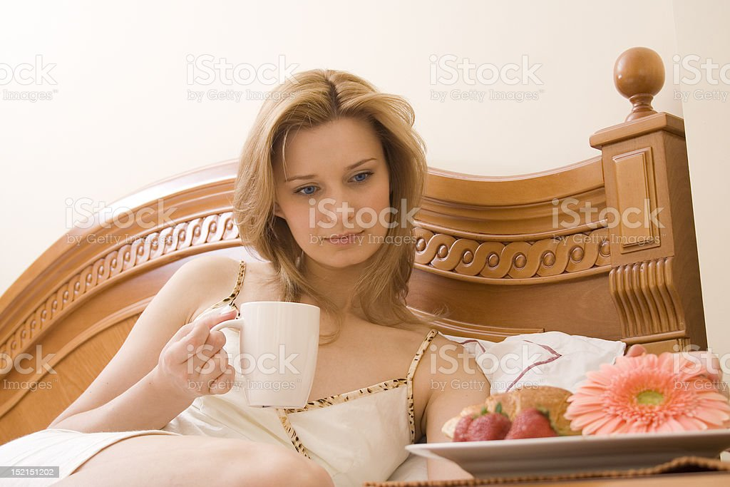Woman and morning lunch royalty-free stock photo