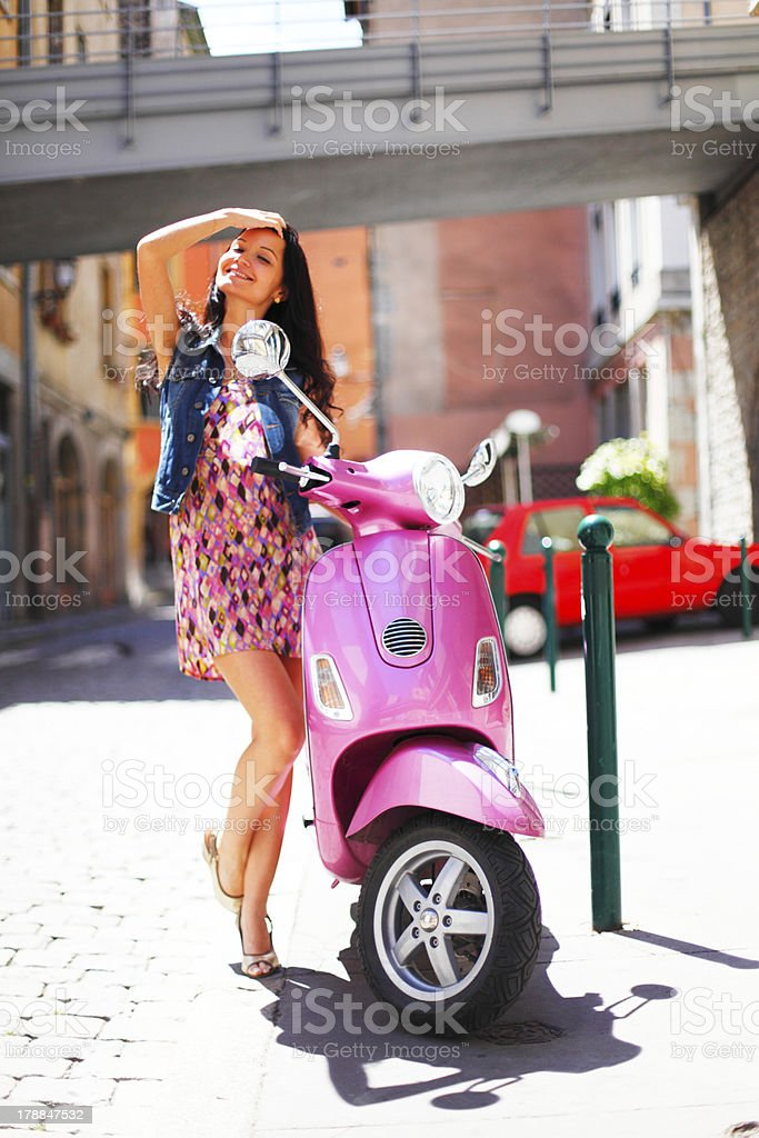 woman and motorbike royalty-free stock photo