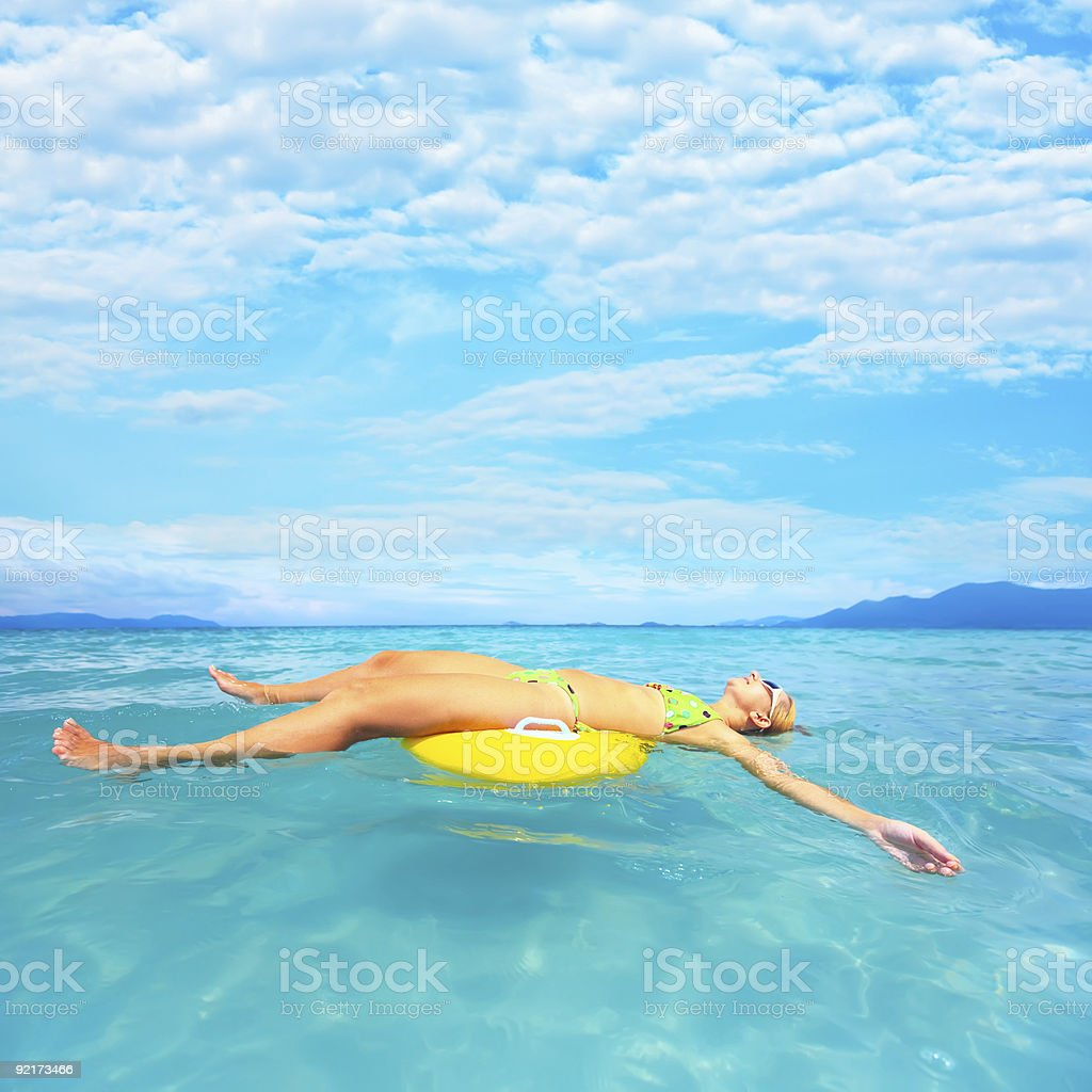 Woman and ocean royalty-free stock photo