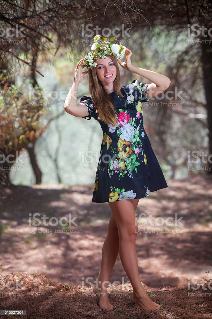 Woman and olive forest stock photo