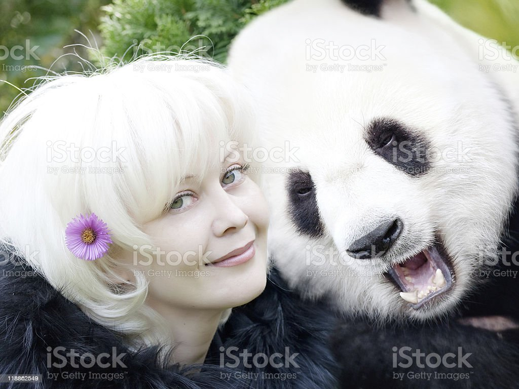 Woman and panda royalty-free stock photo