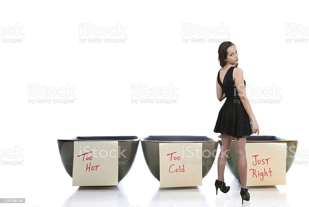 Woman and Porridge Bowls stock photo