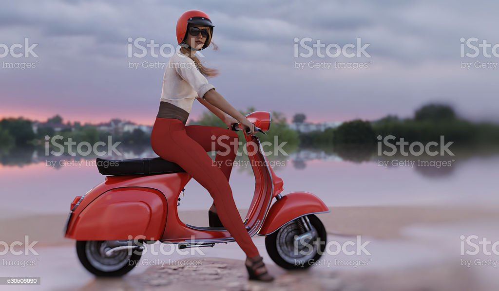 woman and red scooter stock photo