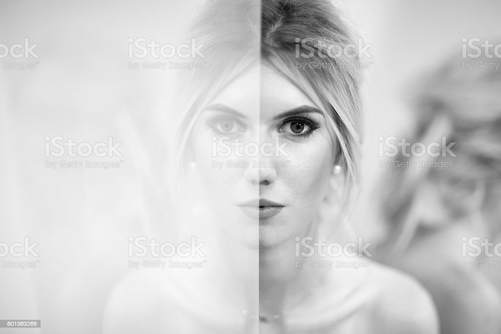 Woman And Reflections stock photo