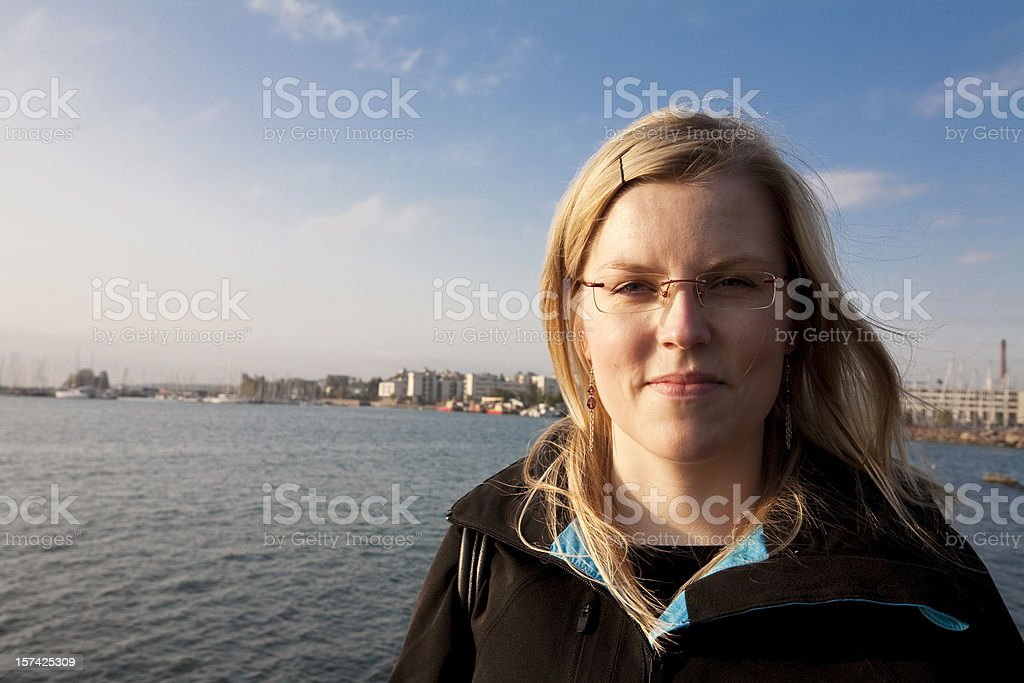 Woman and sea royalty-free stock photo