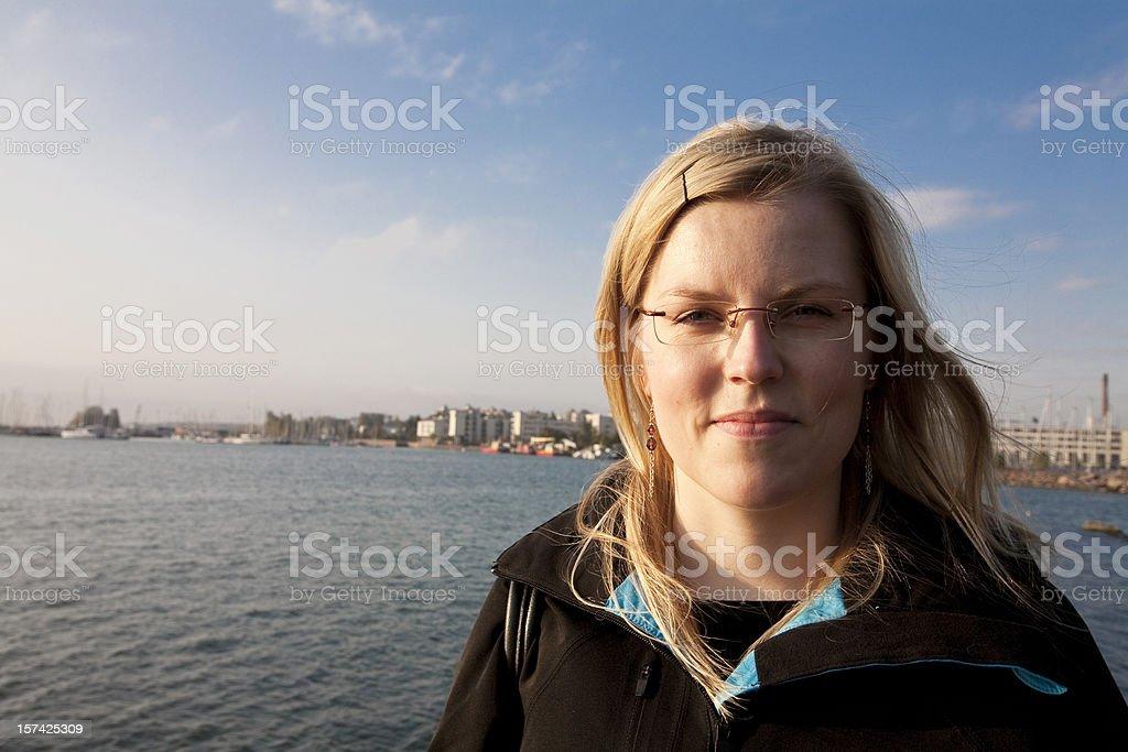Woman and sea stock photo
