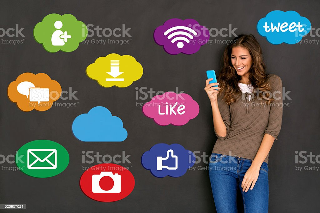 Woman and social network concept stock photo