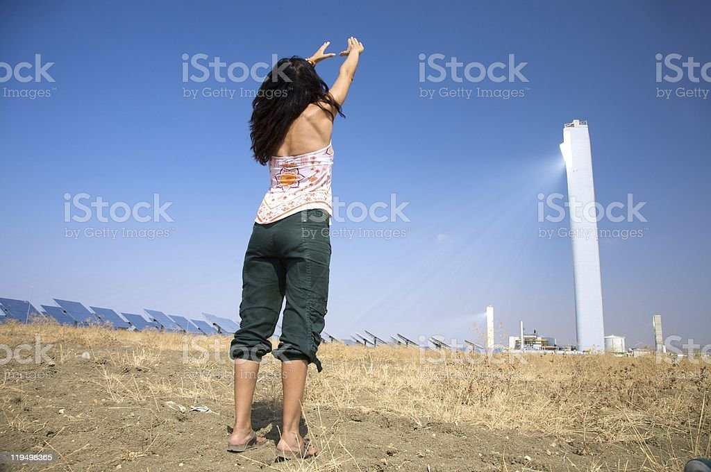 woman and solar power royalty-free stock photo