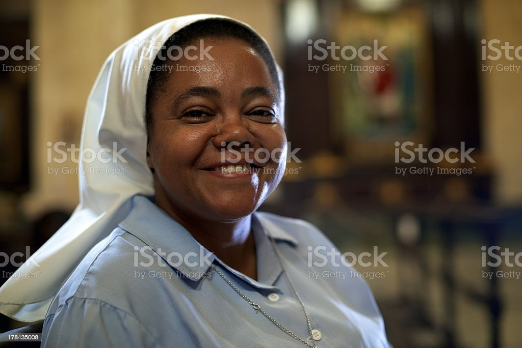 Woman and spirituality, portrait of catholic nun in church stock photo