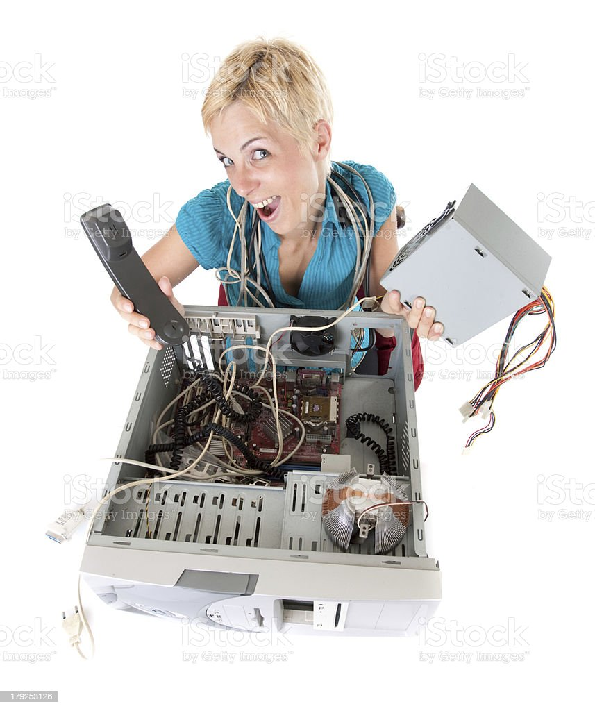 woman and technology royalty-free stock photo