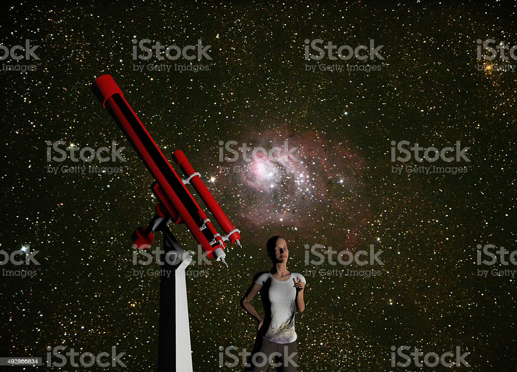 woman and telescope stock photo