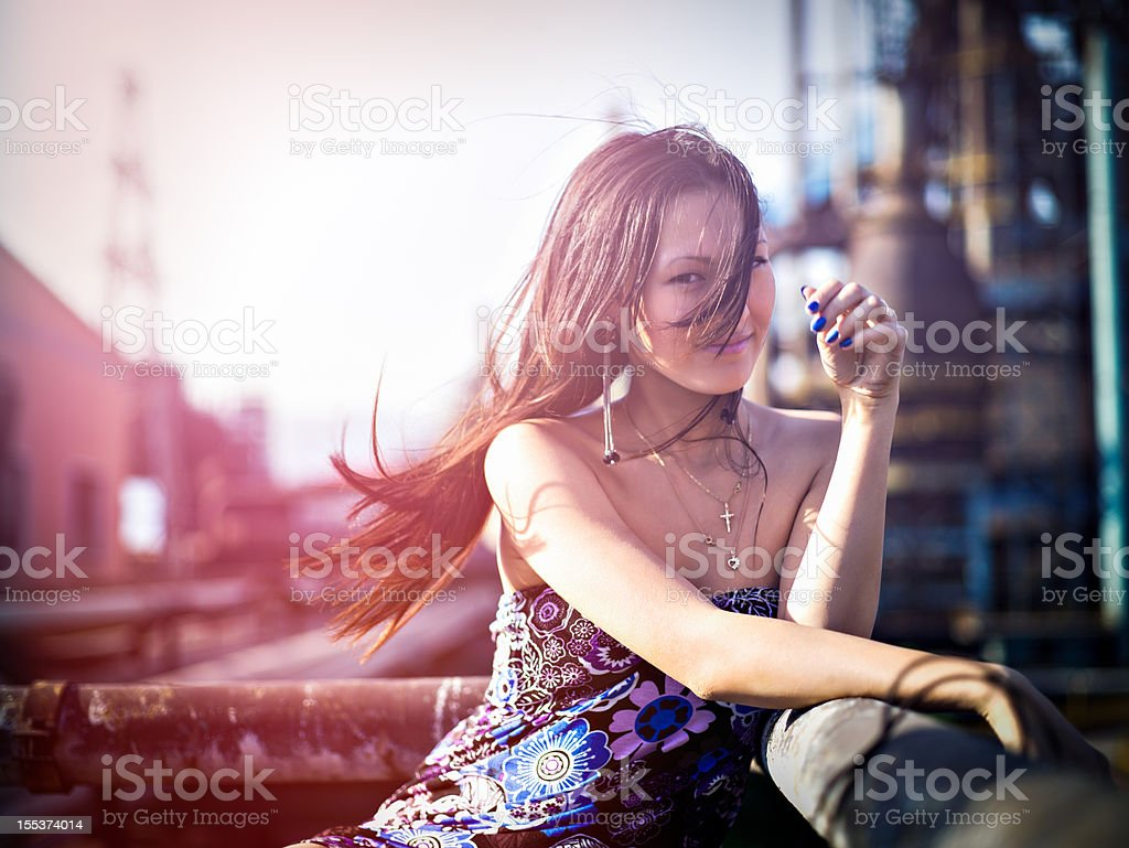 Woman and the factory royalty-free stock photo