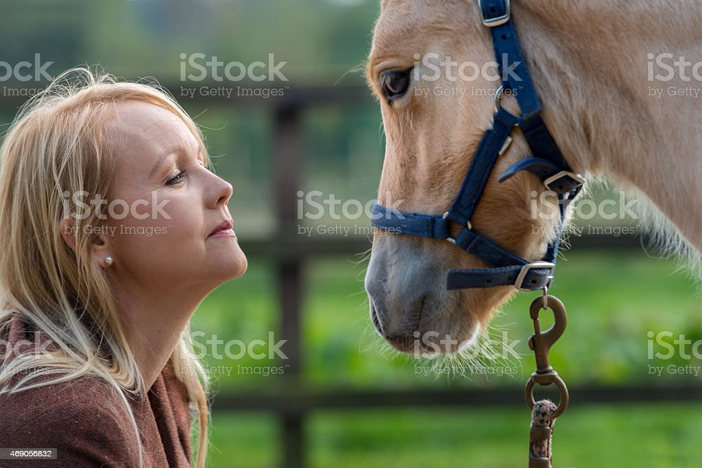Woman and the love for her horse, filly stock photo