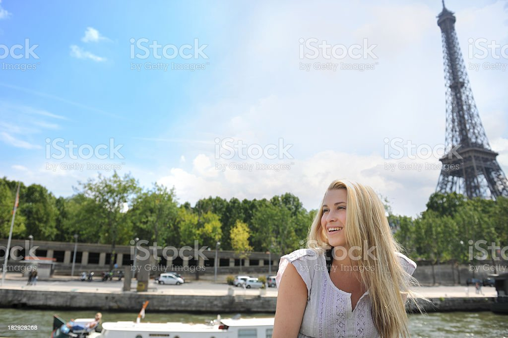 woman and the symbol of France royalty-free stock photo