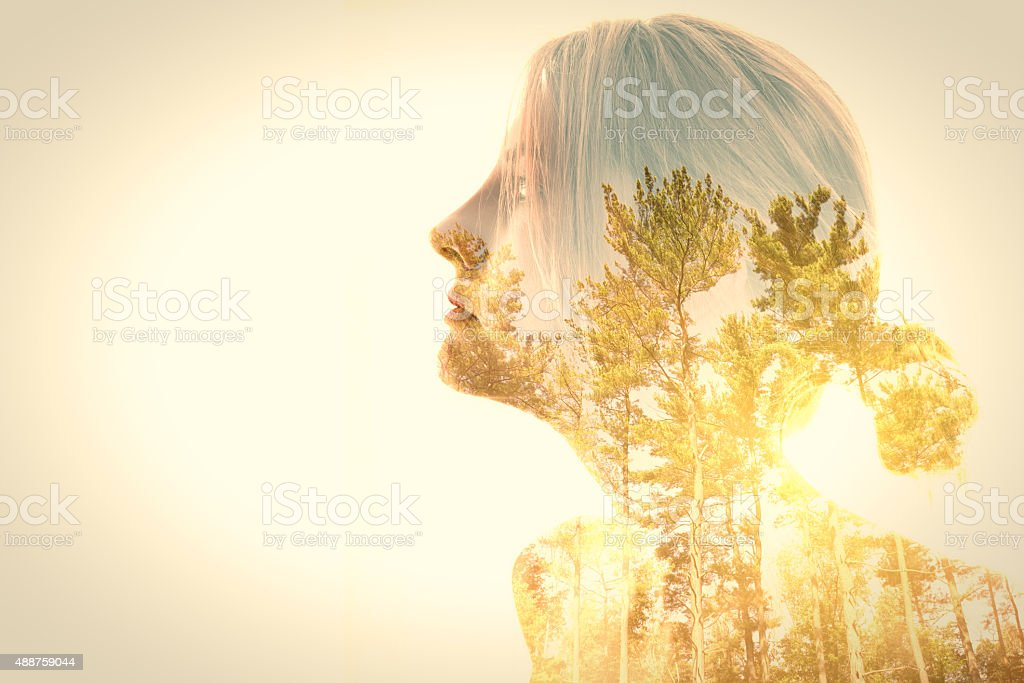 Woman And Trees Double Exposure stock photo