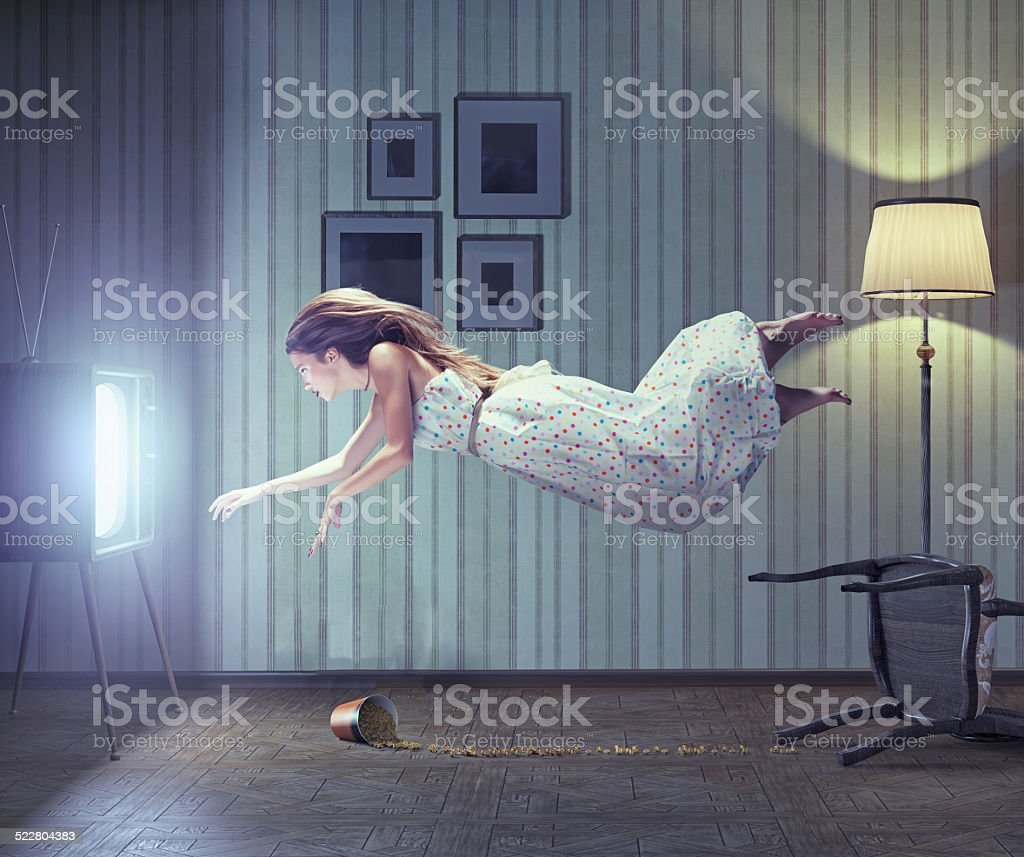 woman and tv stock photo