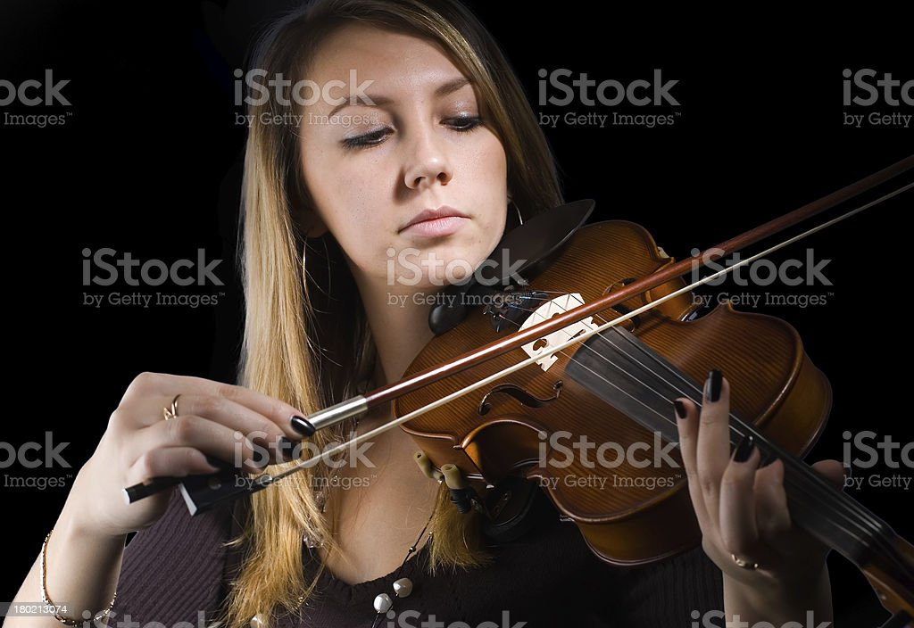 Woman and violin royalty-free stock photo