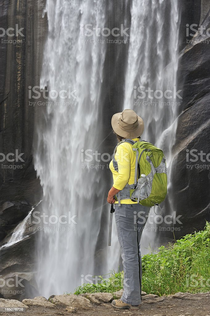 Woman and Waterfall royalty-free stock photo
