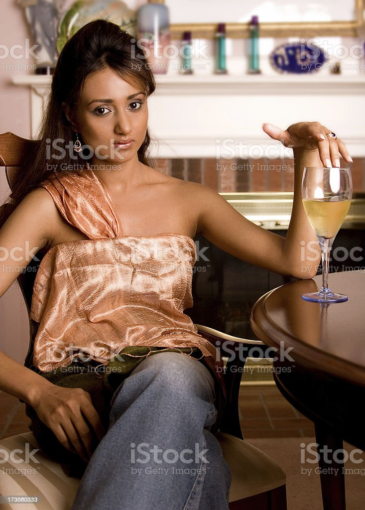 Woman and wine royalty-free stock photo