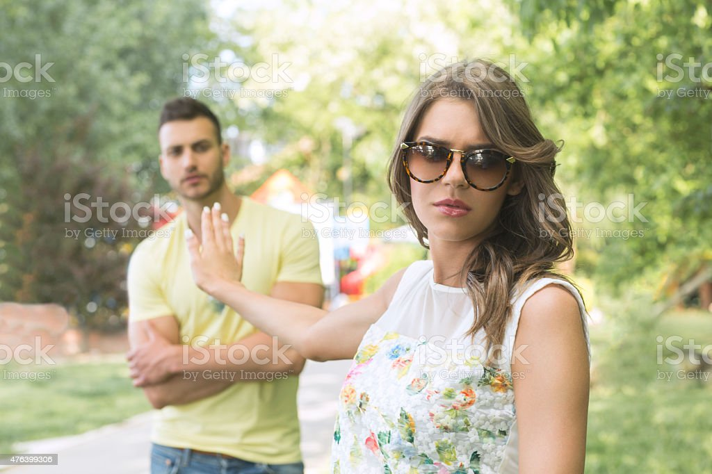 Woman angry with her boyfriend stock photo