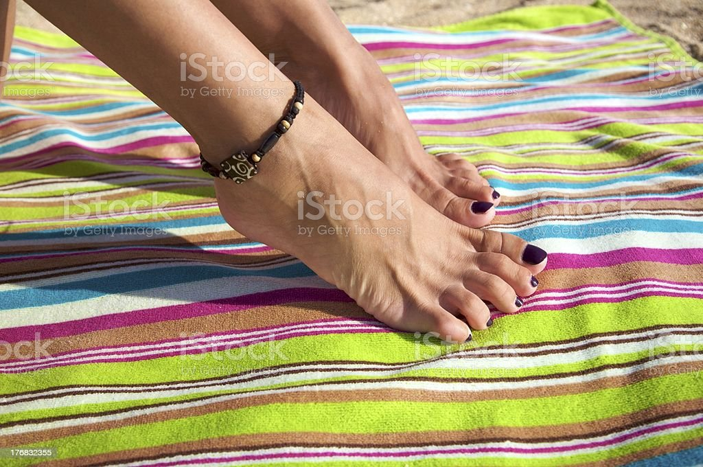 woman ankle with bracelet royalty-free stock photo
