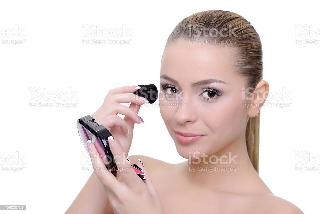 Femme application de maquillage photo libre de droits
