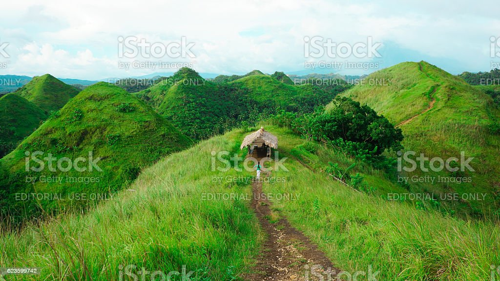Woman appreciating beauty of lush green hills stock photo