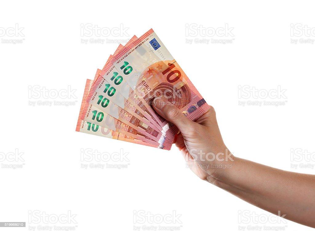 Woman arm holds ten euro banknotes stock photo
