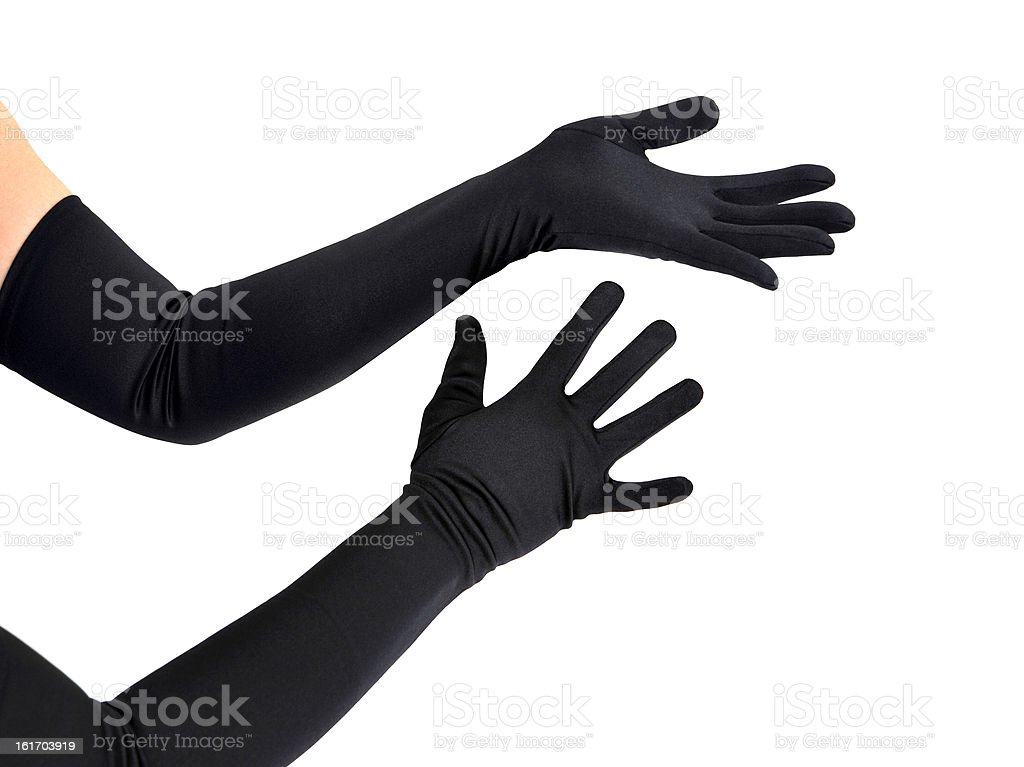 Woman arms with long black gloves stock photo