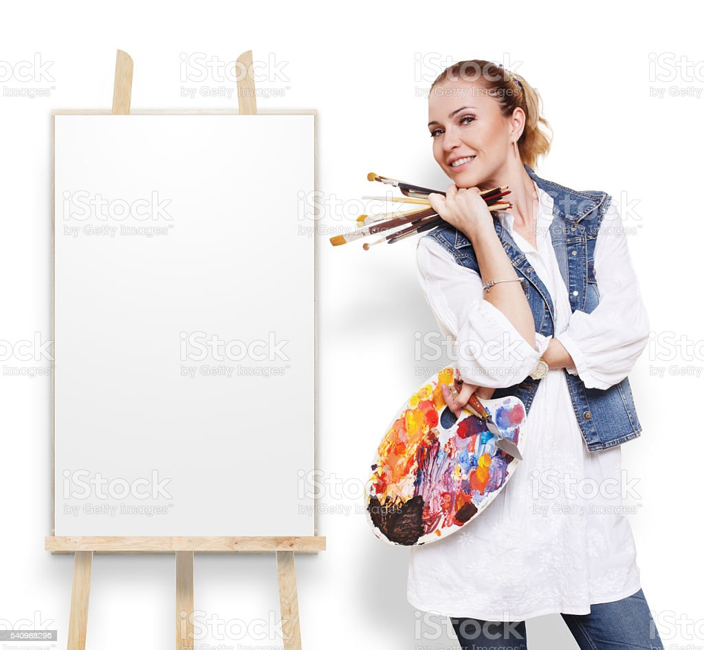 Woman artist with brushes, palette and copy space stock photo