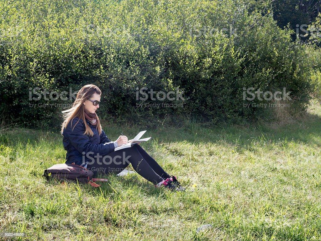 Woman artist working en plein air in mountains. stock photo