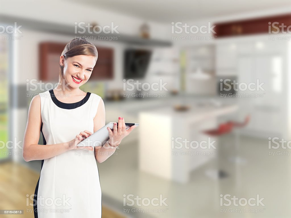 Woman as a real estate agent stock photo