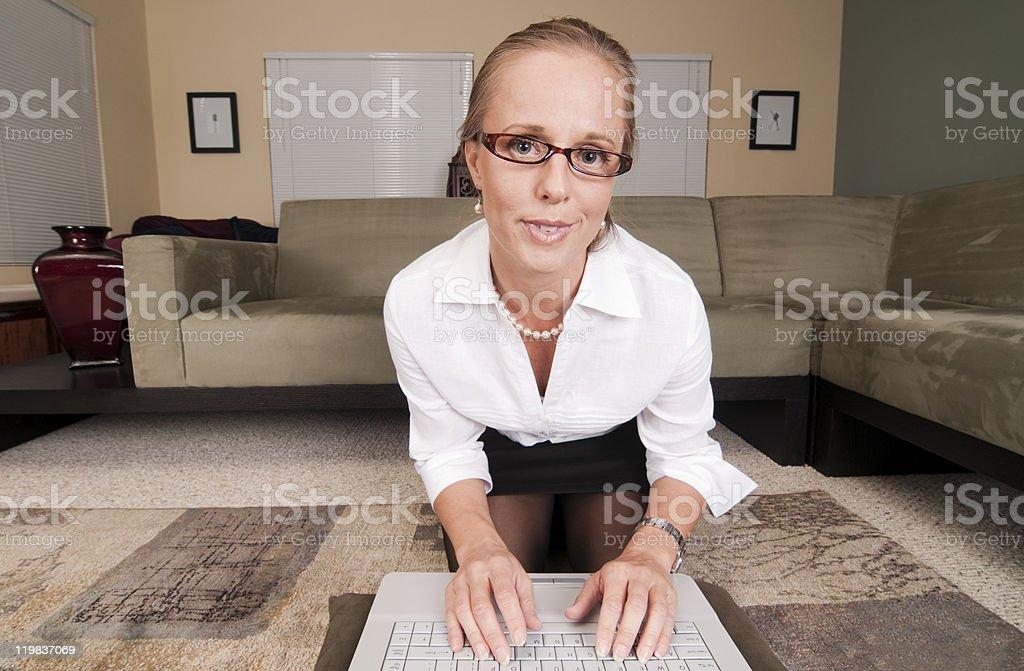 Woman as seen through webcam stock photo