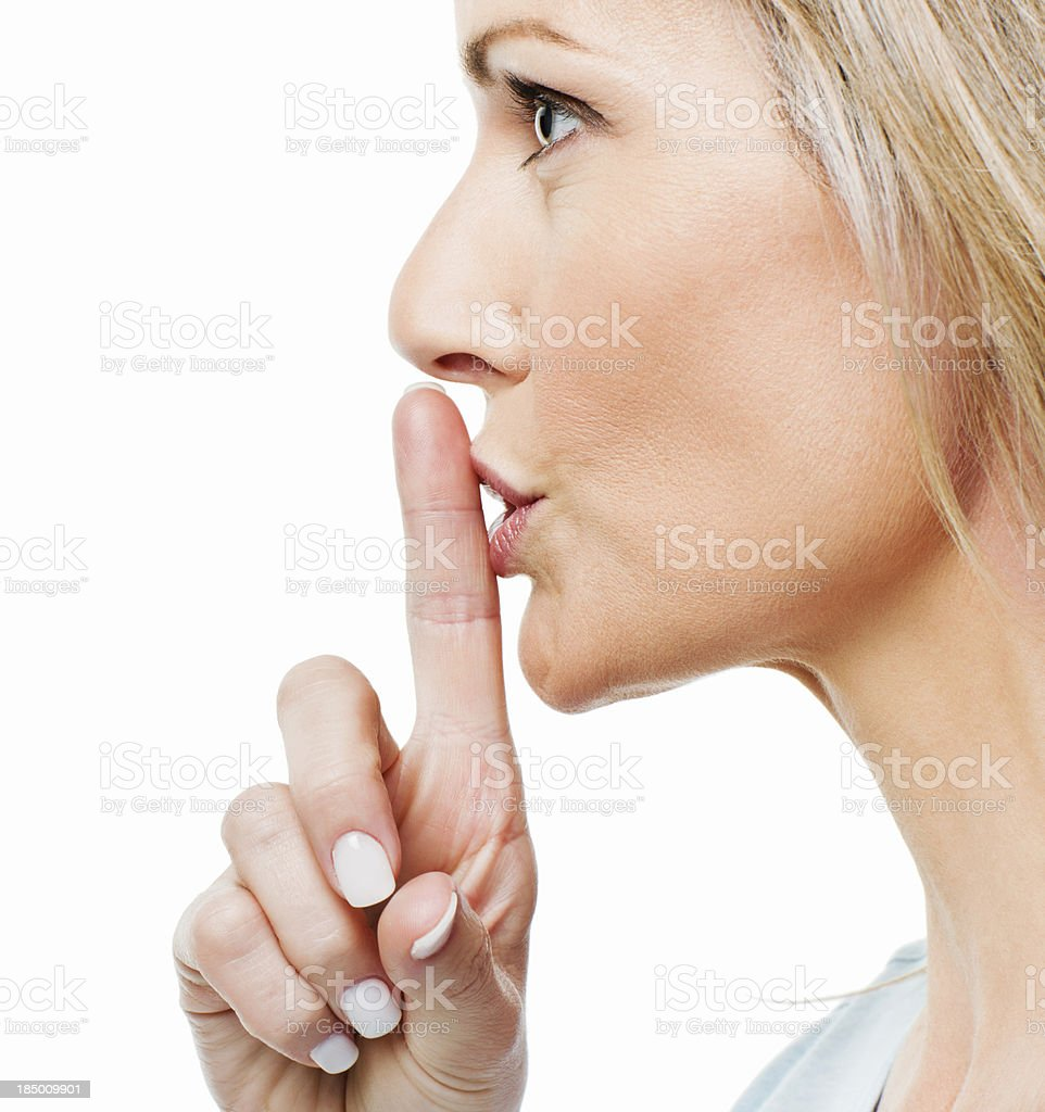 Woman Asking for Silence stock photo