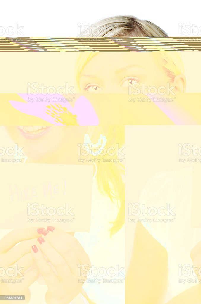 Woman asking to get hired royalty-free stock photo