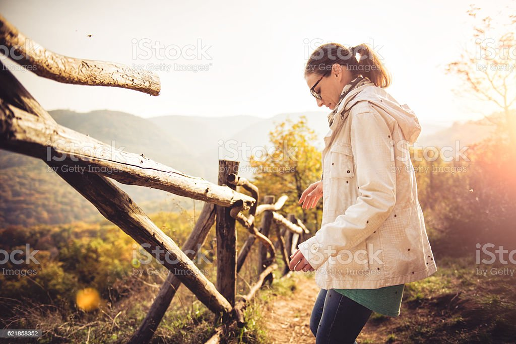 Woman at a forest covered in ladybugs stock photo