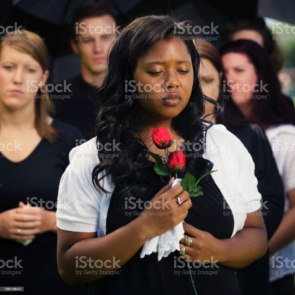 Woman at a Funeral stock photo
