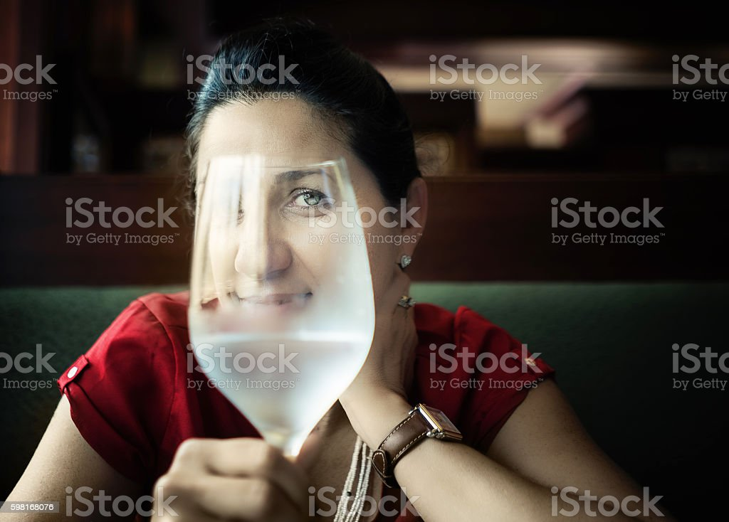 Woman at a restaurant stock photo